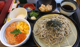 なか卯期間限定メニュー「サーモンいくら丼(ミニ)+ ざるそば(山わさび添え・並)」+α
