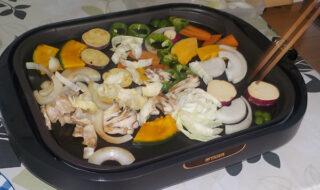 石焼プレートで野菜炒め