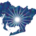 愛知県-岡崎市近辺に光が射している