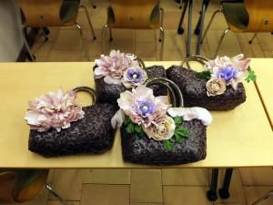 オートクチュールフルール教室「ロマンチックな花のバスケット」全員の作品