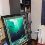 部屋の模様替え-後「ディスプレイ本棚とワイランドの絵(2016/7/16)」